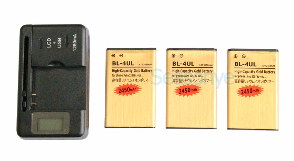 Seasonye 3x 2450mAh <font><b>BL</b></font>-4UL / <font><b>BL</b></font> 4UL / BL4UL Gold Replacement Battery + LCD Universal Charger For Nokia Asha <font><b>225</b></font> Asha225 image
