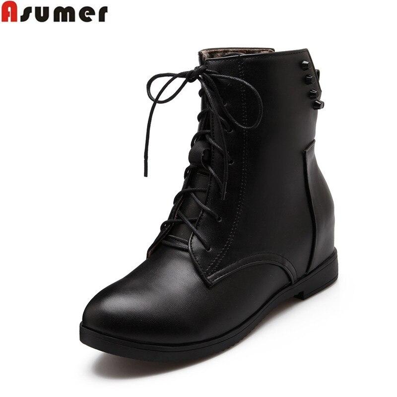 Plus size 34 43 Hot sale women boots lace up flat soft pu ...