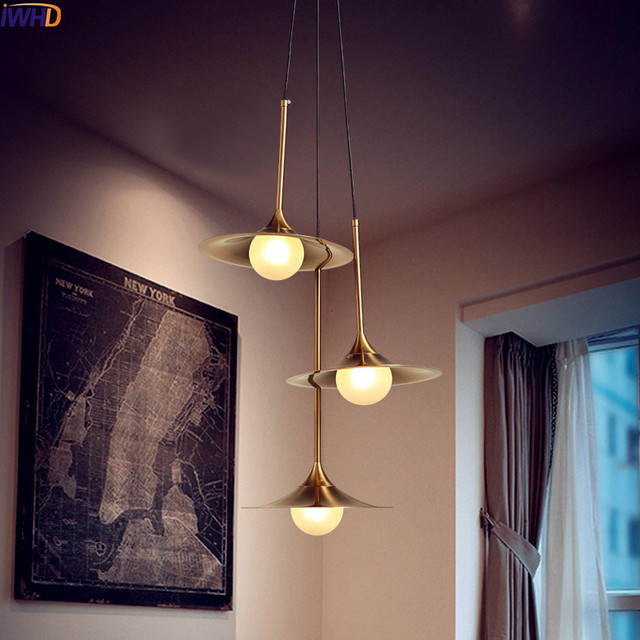 Iwhd Nordic Copper Led Pendant Light Fixtures 3 Heads Gl Ball Hanging Lights Gold Modern