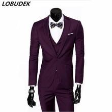 jacket pants male gentleman font b suit b font spring autumn 2piece set slim jacket