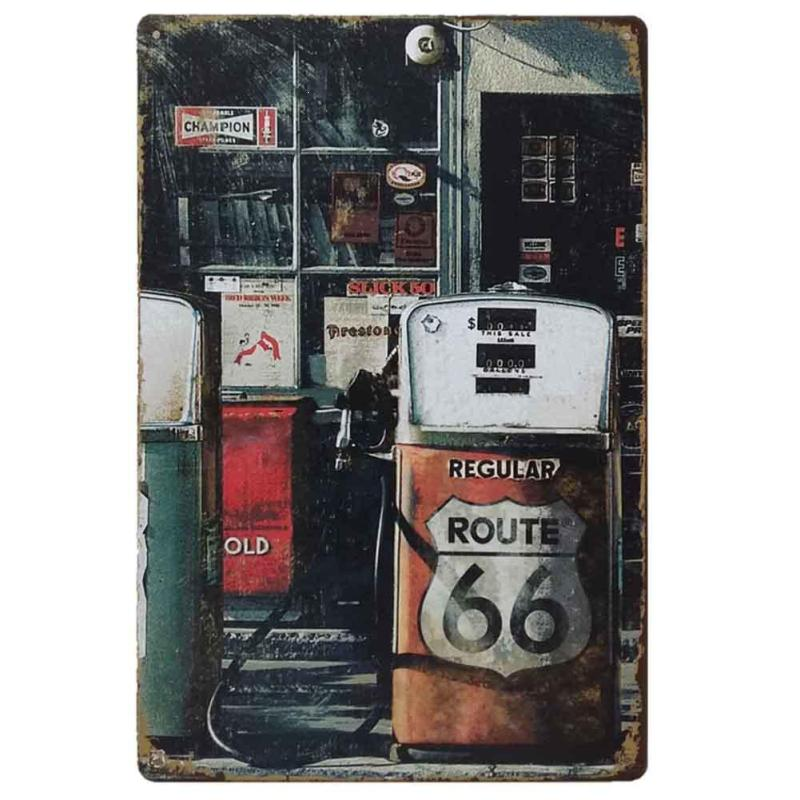 Signage Retro Metal Tin Sign ROUTE66 Highway metal painting Shop Oil Painting Antique Iron Poster 20x30cm #10