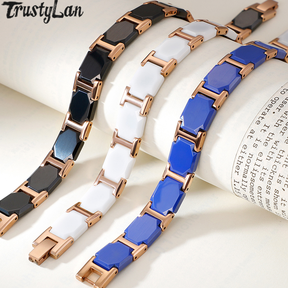 Chain Link Health Magnetic Ceramic Bracelet Men Rose Gold Stainless Steel Handmade Jewelry Friendship Mens Bracelets For Women