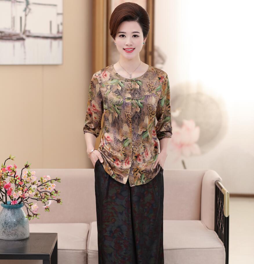 f0c2714792bba9 2018 Summer women Silk satin blouse flowers printed shirt Three quarter  sleeve O-neck lady plus size floral shirts