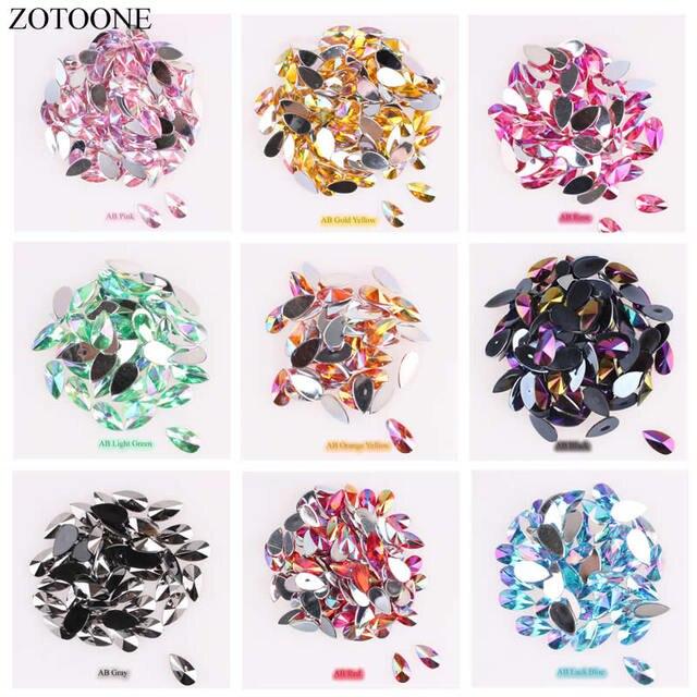 ZOTOONE 50PCS 8 13mm Shiny Crystal AB Flatback Rhinestones Glue on Crystals  Stones Horse Eye Acrylic Strass for Clothes Crafts D 61ef2344df63