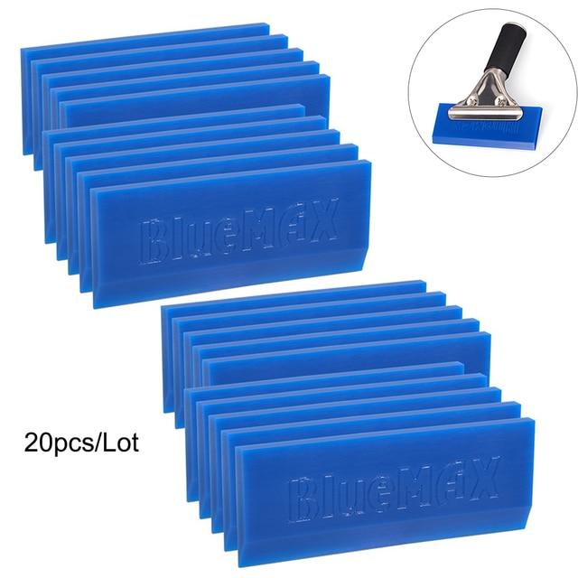 FOSHIO 20PCS 스페어 BLUEMAX 고무 블레이드 창 스퀴지 탄소 비닐 자동차 포장 색조 도구 물 얼음 스크레이퍼 청소 도구
