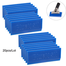 FOSHIO 20PCS Spare BLUEMAX Rubber Blade for Window Squeegee Carbon Vinyl Car Wrapping Tint Tool Water Ice Scraper Cleaning Tool
