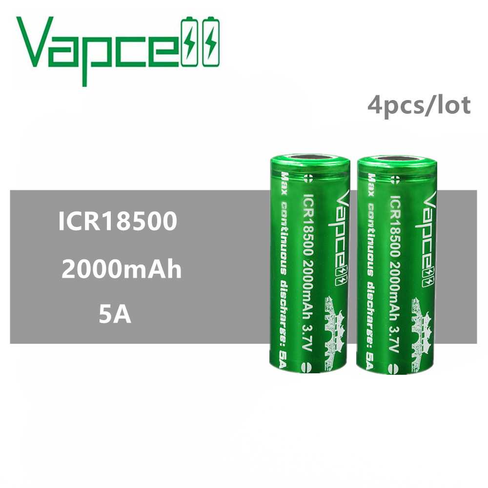 4pcs VAPCELL ICR18500 2000mAh lithium <font><b>ICR</b></font> <font><b>18500</b></font> 3.7V rechargeable <font><b>battery</b></font> continuous 5A electronic smoke E-CIG vs keeppower image