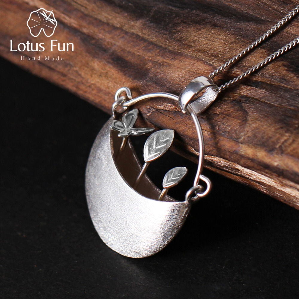 Lotus Fun Real 925 Sterling Silver Handmade Fine Jewelry My Little Garden Design Pendant without Necklace for Women Acessorios my passion for design