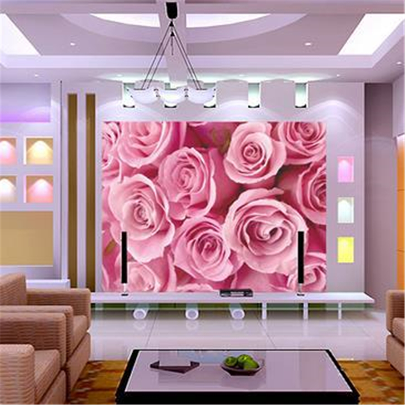 beibehang stereoscopic wallpaper Modern brief living room sofa pink ...