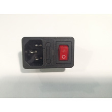 plug power socket with red lamp rocker switch 10A fuse holder socket connector стоимость