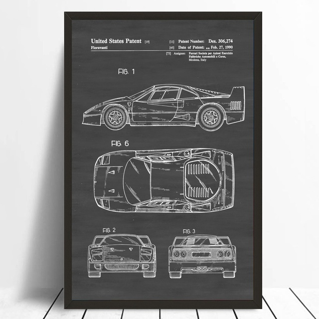Office Blueprint Patent Print Wall Decor Automobile Decor Vintage