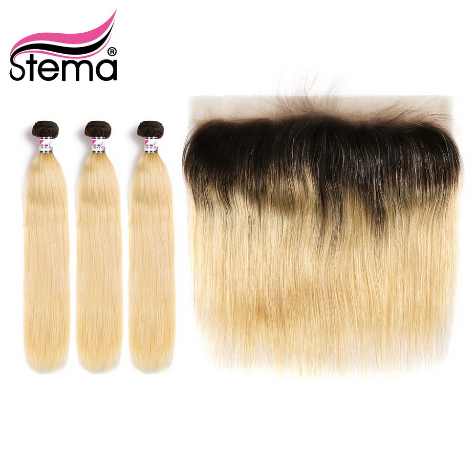 Stema 1b 613 Straight 3 Bundles with 13 4 Lace Frontal Closure Dark Root Blonde Ombre