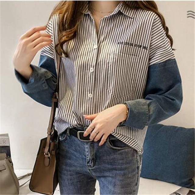 stripe long-sleeve shirt for women autumn new Hong Kong style loose casual shirt plus size women clothing 2
