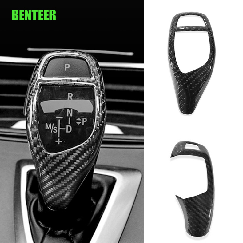 Real carbon fiber Car gear <font><b>knob</b></font> decoration for <font><b>BMW</b></font> E60 E90 F10 F30 F20 X1 3 GT,2015-2016 X5 6series Can only fit Left Hand <font><b>Drive</b></font> image