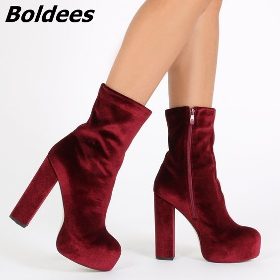 a9adc7a0eed Gorgeous Women Soft Velvet Burgundy Block Heels Ankle Boots Simply Design  Round Toe Chunky Heel Platform Short Boots Celebrity