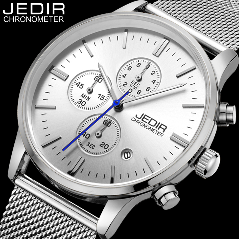 Mens Watches Top Brand Luxury JEDIR Stainless Steel Mesh Band Quartz Watch Men Fashion Luminous Analog Clock relogio masculino orkina golden watches for men top luxury brand mens quartz wristwatches stainless steel band working sub dials 6 hands watches