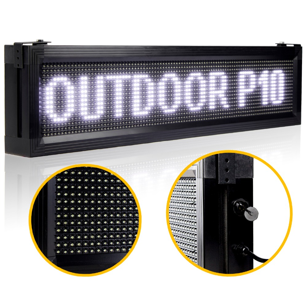 White P10 Outdoor LED Sign Board Waterproof  LAN Programmable Display Scrolling Advertising  Message For Your Store