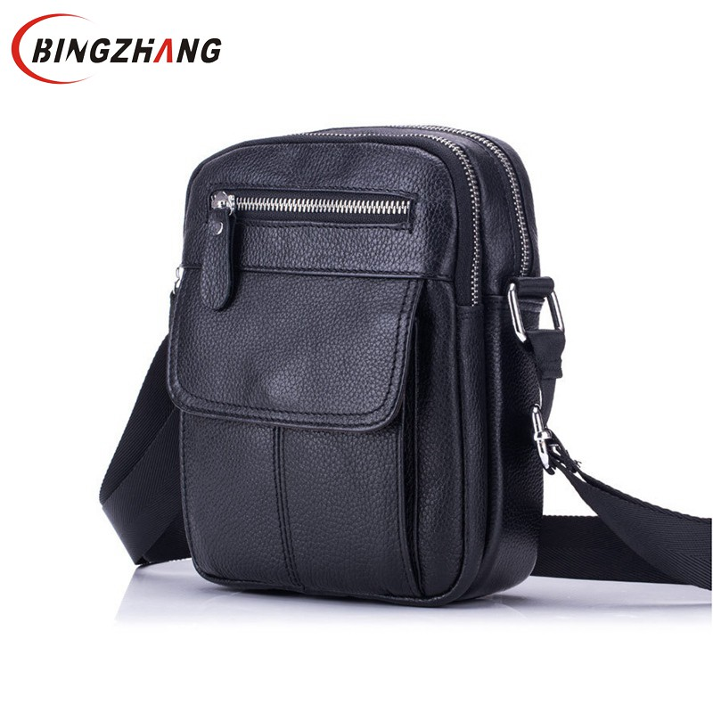 Genuine Leather Bag Men Messenger Bags Men's Crossbody Bag Small sacoche homme Satchel Man Cow Leather Shoulder Bags L4-3241 casual canvas satchel men sling bag