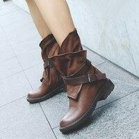BuonoScarpe для женщин из натуральной кожи в стиле ретро ботильоны женские ботинки с заклепками и круглыми носами Винтаж PleatedBoots модные мотоботы теплый плюш Botas