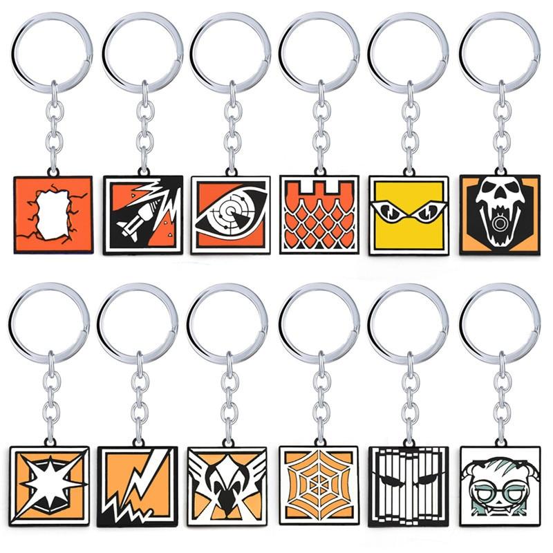 HSIC Game Tom Clancys Rainbow Six 6 Keychain Jewelry R6 36 Heroes Key Ring Holder Figure Chaveiro Men Anime keychain HC12807