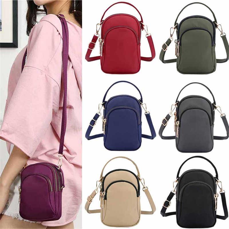 Mini bolsa de ombro feminina moda bolsa mensageiro do vintage leve náilon bolsa sólida zíper à prova dwaterproof água aleta crossbody saco