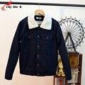 2016 Otoño Invierno Nueva chaqueta De Lana De Cordero de Los Hombres de Solapa chaqueta de Punto de un solo Pecho Escudo Casual Male Chaquetas Calientes Tamaño M-XL 4 colores