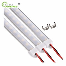 цена на 10PCS 5050 LED Strip Bar Light 12V U-Type Hard Rigid Aluminium shell with milky Transparent cover for Kitchen Show Case Cabinet
