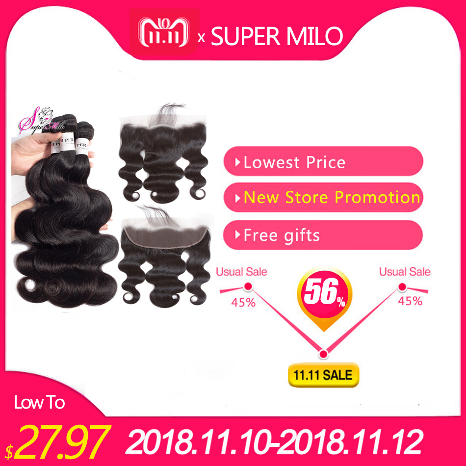Super Milo Hair 13x4 Lace Frontal Closure With Bundles Human Hair Bundles Peruvian Body Wave With Lace Closure Non Remy Hair