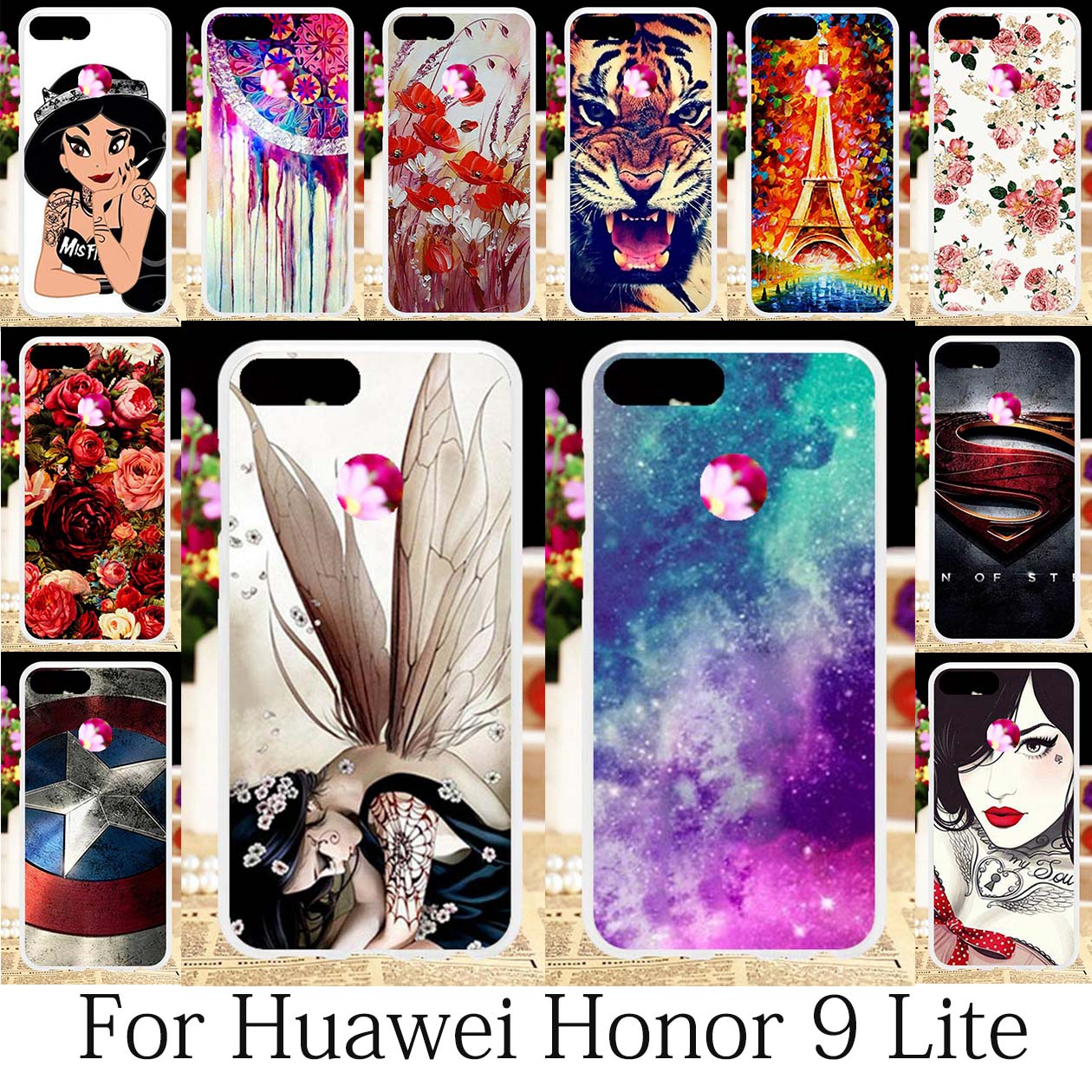 TAOYUNXI For Coque Huawei Honor 9 Lite Case Silicone Patterned Fitted Huawei Honor 9 Lite Cover Cute Girls Anime Shell 5.65 inch