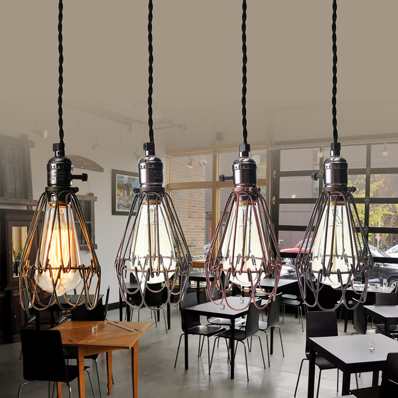Iron Vintage Industrial Lamp Covers Pendant Trouble Light