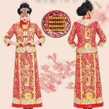 Dragon Phoenix Chinese bride Outfit costume cheongsam wedding dress gown toast in spring and summer Guangdong Canton embroidery spring and summer clothing xiu he chinese red wedding dress bride cheongsam phoenix gown chinese fashion show kimono outfit