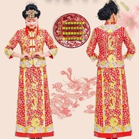 Dragon Phoenix Chinese bride Outfit costume cheongsam wedding dress gown toast in spring and summer Guangdong Canton embroidery