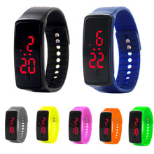 1pc new girls males watches clocks wristband Sports activities LED Sweet Coloration Silicone strap Contact Display Bracelet Digital Wristwatches H4