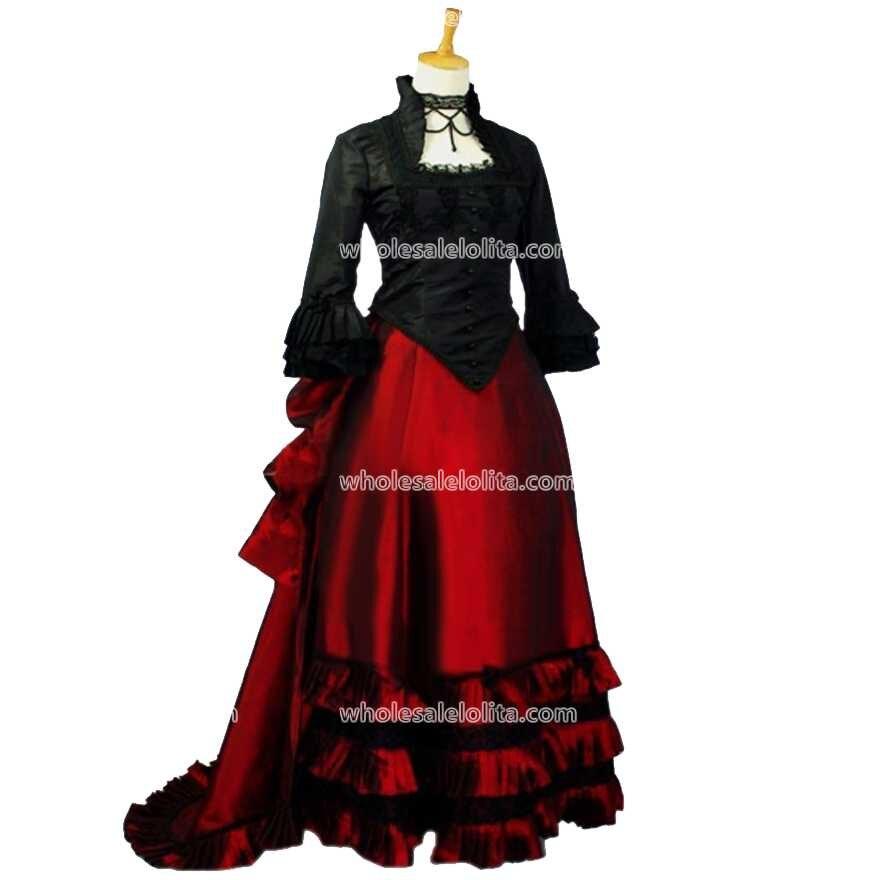 Fekete és piros kéttónusú viktoriánus ruha viktoriánus - Női ruházat