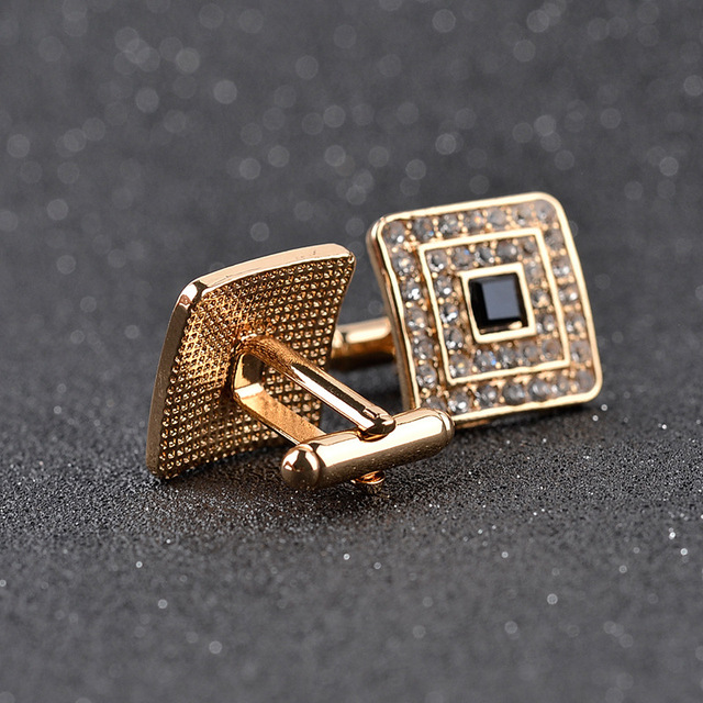 High Luxury Rhinestone Crystal Square Custom Enamel Men's Cufflink Male French Shirt Cuff Links Wedding Jewelry