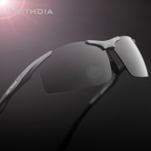 VEITHDIA Brand Aluminum Men's Polarized Sunglasses Rimless Rectangle Sun Glasses Male Eyewear Accessories For Men 6535