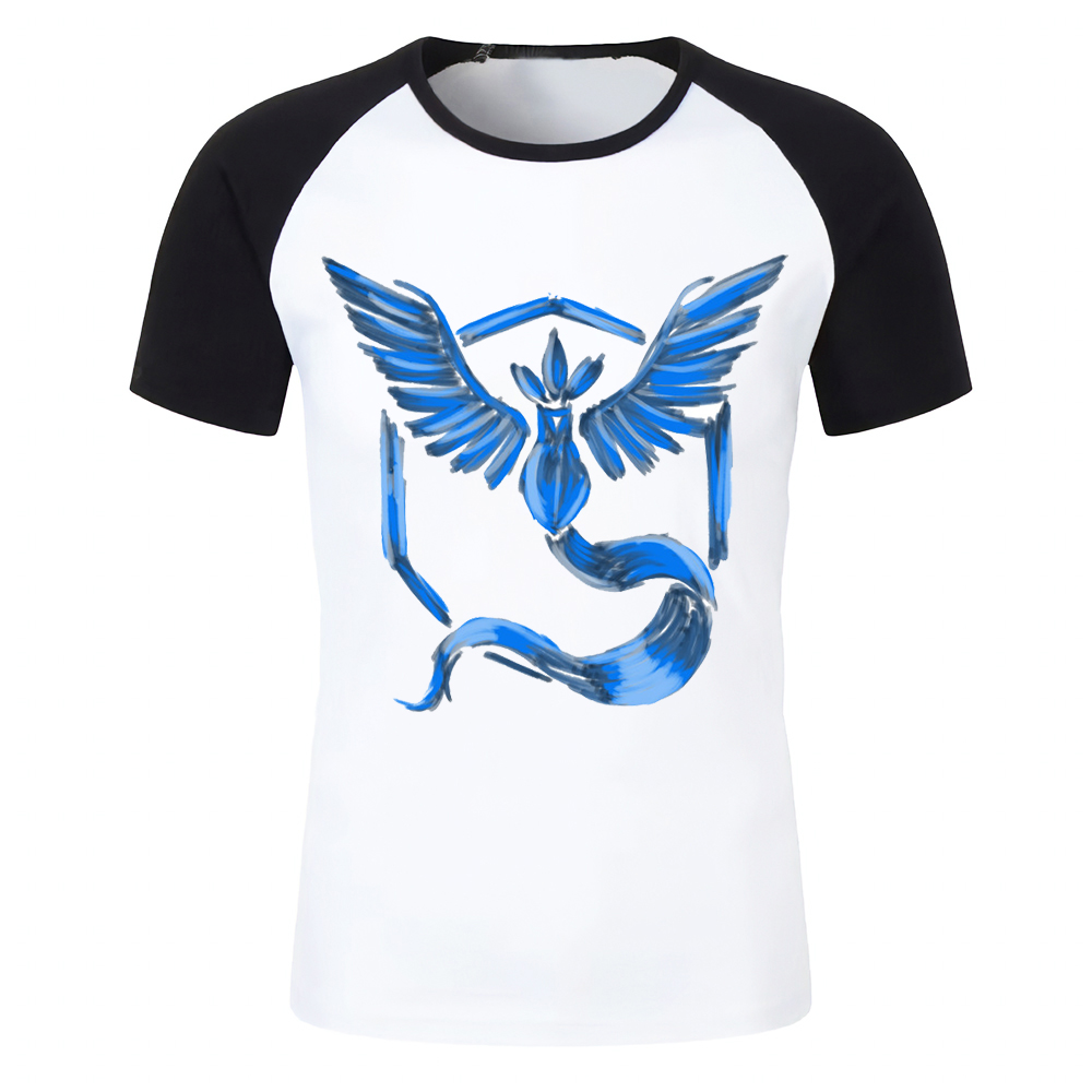 7c297717 Men's T Shirt Pokemon Team Valor Instinct Mystic Artsy Printed Black  Baseball Tee