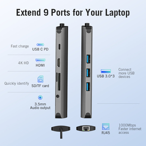 Image 2 - Vention Thunderbolt 3 Dock USB Hub Type C to HDMI USB3.0 RJ45 Adapter for MacBook Samsung Dex S8/S9 Huawei P30 Pro usb c Adapter