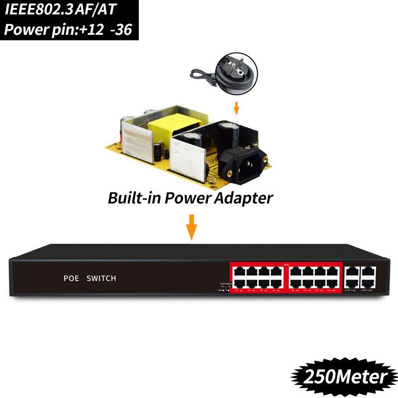 48 V 16 Ports POE commutateur ethernet avec IEEE 802.3 af/at ports RJ45 commutateur réseau professionnel 10/100 Mbps pour caméras POE 12 V