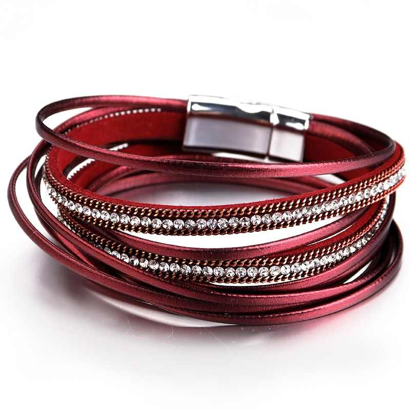ALLYES Multilayer Leather Bracelets for Women Femme 6 Colors Magnet Clasp Crystal Bohemian Double Wrap Bracelet Jewelry