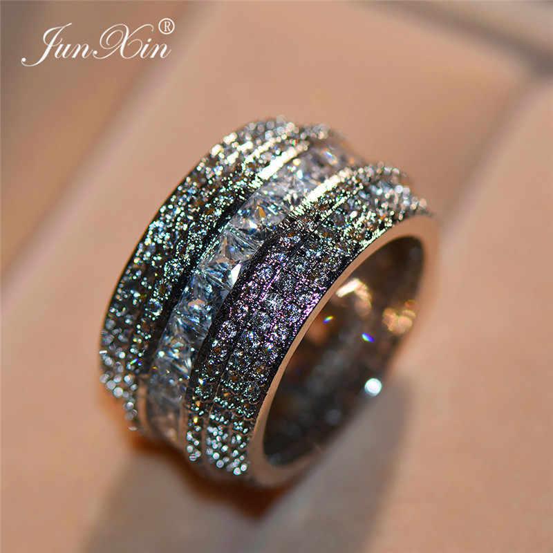 ผู้หญิงหรูหราขนาดใหญ่ AAA Zircon แหวนหญิงแหวนชุด 925 เงินเครื่องประดับสัญญาหมั้นแหวน