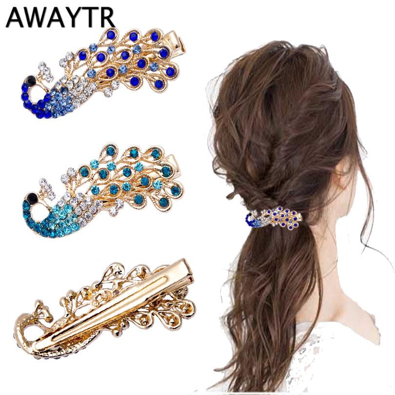 AWAYTR Hair Jewelry 4.5*2 cm Ethnic Small Peacock Hairpin for Women Crystal Rhinestone Headwear Hair Clip Barrette