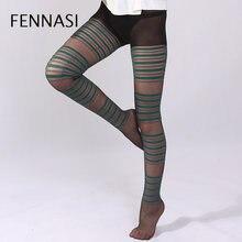 0564546fc FENNASI Jacquard Listrado Calças Justas das Mulheres do Sexo Feminino Verde  Cinza Padrão Listrado Sexy Nylons Meia-calça Senhora.