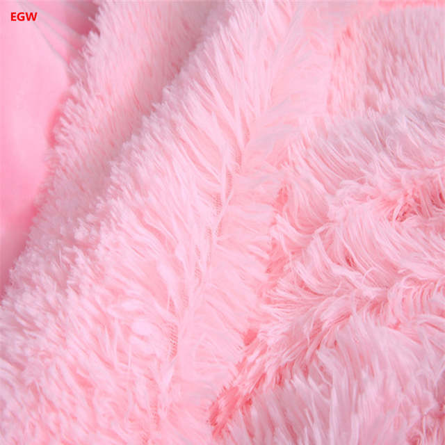 Gray pv long hair plush blanket pink fleece blankets warm soft white blue  red throw on 2fa5611d0