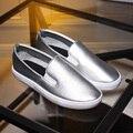 Estilo chino dulce ocasional cómodo mocasines de punta redonda de plata elástico negro blanco zapatos de las mujeres planas de gran tamaño 21.5 ~ 26.5 cm