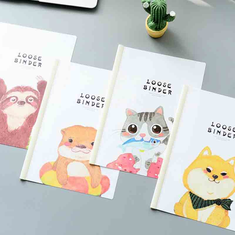 1 Pcs Cute A4 Cat Dog Animal Binder File Folder Insert Folder Document Filing Clip Stationery Lever Rod Pumping Clip Folder