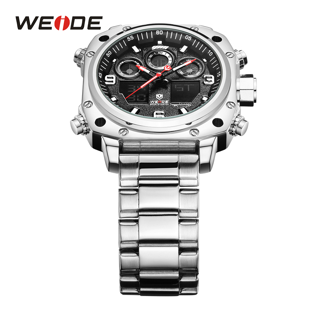 c61e4c57a8e WEIDE Sport Watch Casual Business Auto Date Stopwatch Analog Digital  Stainless Steel Band Quartz Wristwatch Relogio Masculino-in Quartz Watches  from Watches ...