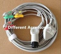 2017 شحن مجاني قطعة واحدة ecg 3 leadwire ، ecg العادي 6 دبوس الكوع مقطع/المشبك الطباع ecg cable for مونيتور iec. tpu