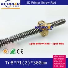Tr8 * P1 * 300 Tr8 * P2 * 300 Винт Стержень/Шагового Двигателя Направляющий Стержень с 1 шт. M8 Гайка для 3D принтер/Станочных Направляющих
