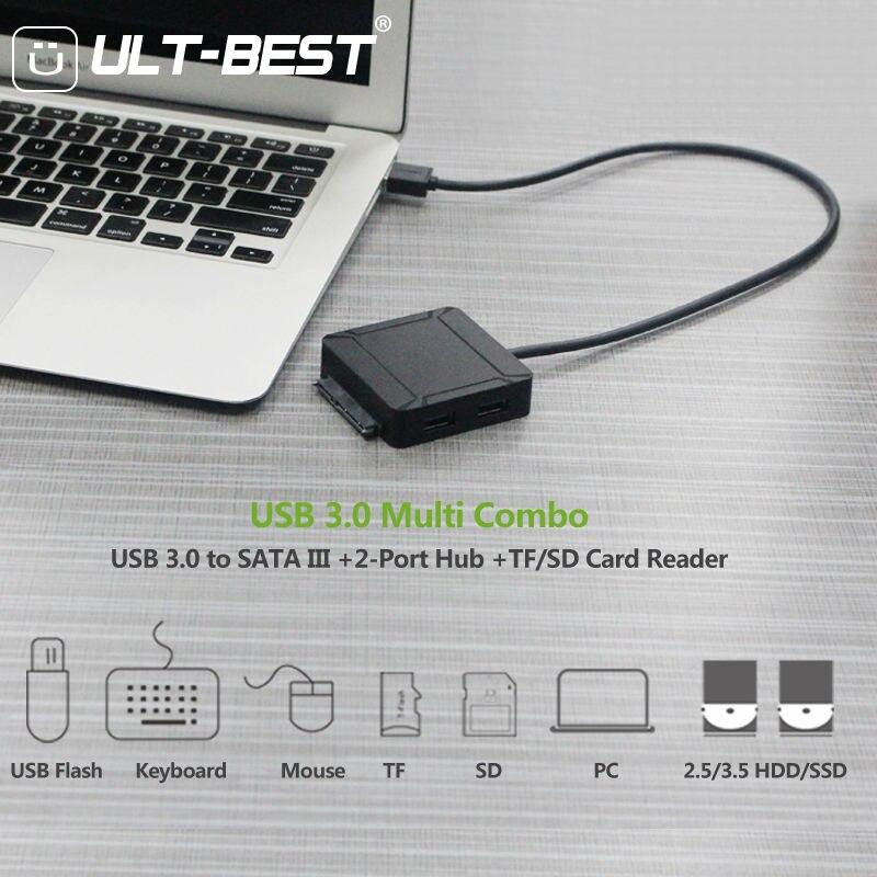 USB 3.0 à SATA III adaptateur de disque dur câble prise en charge UASP pour 2.5 3.5 pouces SSD HDD avec 2 ports USB 3.0 et lecteur de carte SD/TF